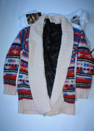 Кардиган цветной с орнаментом узором шерсть, мохер в составе miss selfridge (к033)