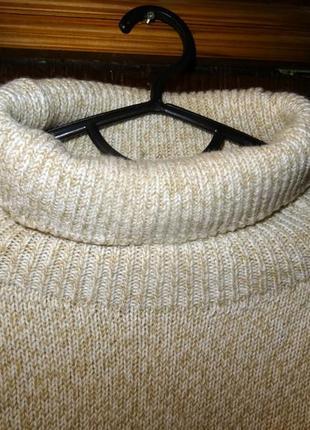 Теплый мягкий уютный свитер из шерсти  меринос и акрил