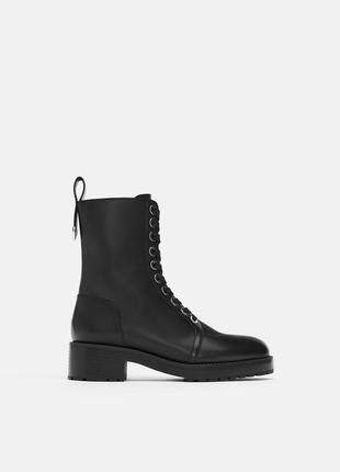Кожаные ботинки в байкерском стиле с заклепками, 36-40