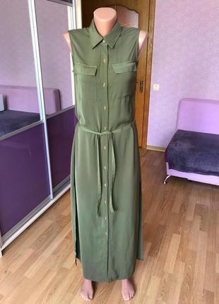 Платье в пол длинное на пуговицах хаки