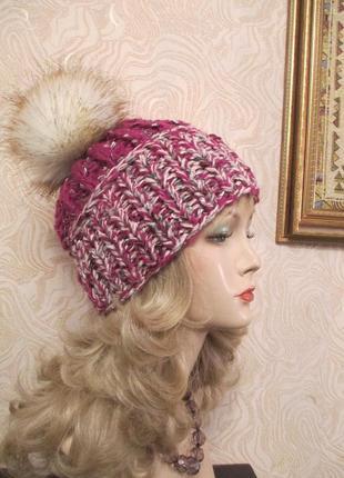 Стильная шапка крупной вязки № 106