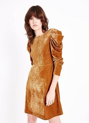 -25% на все! платье велюровое, объемный рукав фонарик, свободная юбка, вечернее asos