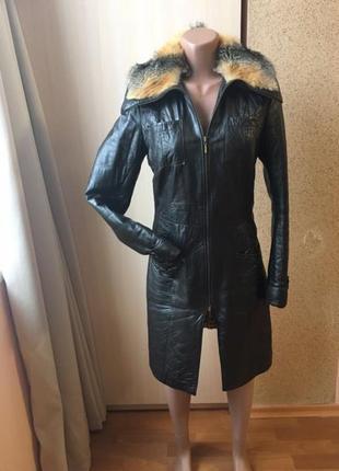 Кожаная курточка плащ с лисой