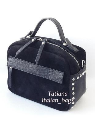 Трендовая замшевая сумка бочонок с кожаными вставками, черная. италия
