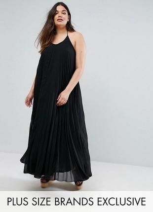 Шифоновое плисированное макси платье с открытой спинкой/ missguided
