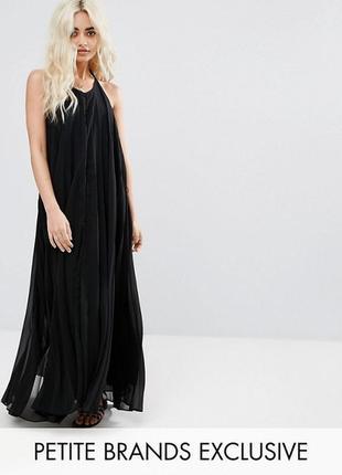 Шифоновое плисированное макси платье с открытой спинкой/ missguided3 фото