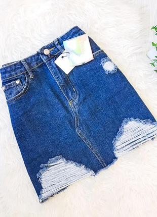 Джинсовая синяя юбка с порваностями   missguided