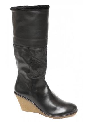 🖤сапоги кожаные черные, осенние, ботинки на танкетке, платформе с мехом демисезонные geox