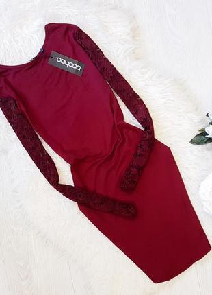 Платье-миди с кружевными рукавами boohoo