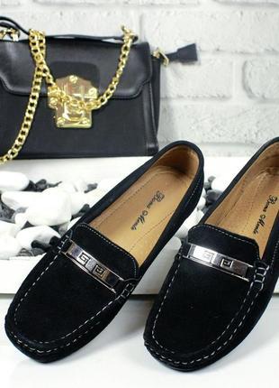 Чёрные замшевые натуральные туфли лоферы р.36