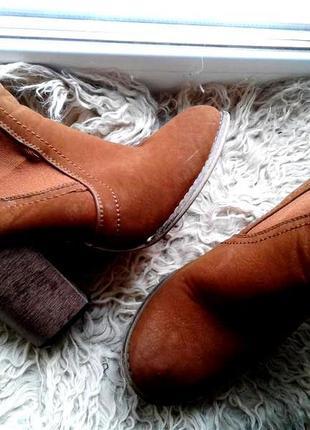 Замшевые коричнево - рыжые ботинки , 39р- р.