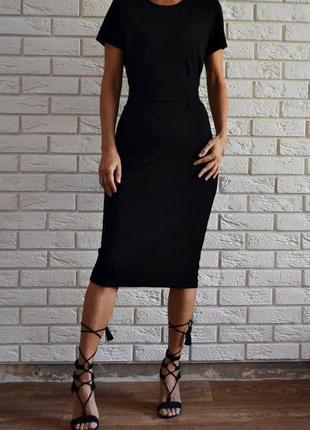 Черное платье миди с поясом boohoo
