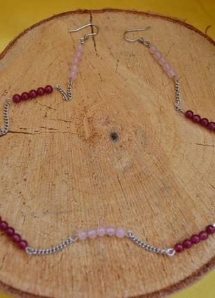 Ожерелье - серьги  с гранатом и розовым кварцем ′аромат малины′