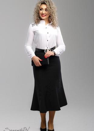 Батальная джинсовая юбка - годе для шикарной женщины