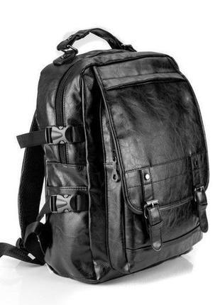 Кожаный городской рюкзак  чёрный