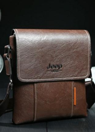 Мужская сумка jeep коричневый + визитница в подарок