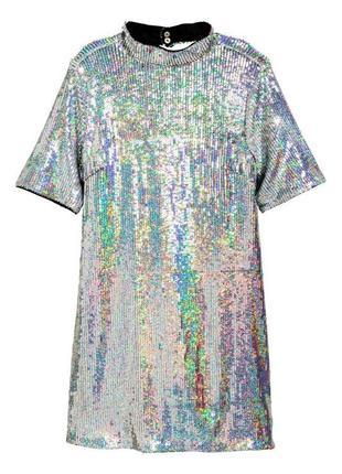 Блестящее платье с открытой спиной h&m пайетки