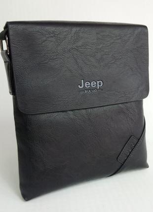 Стильная мужская сумка jeep черный + визитница в подарок