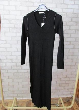 Черное платье миди трикотаж