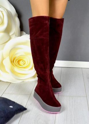 Рр 36-41 (осень,зима) натуральный замш стильные сапоги ботфорты бордо на платформе
