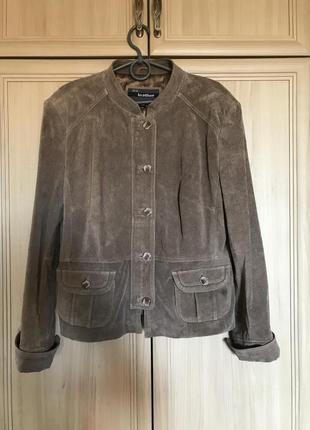 Новая замшевая куртка оттенок кофе с молоком ws leather 14-16pp