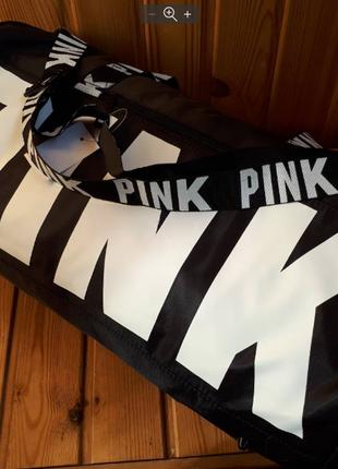 Спортивная сумка черная для фитнеса pink victorias secret
