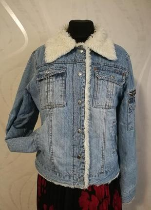 Джинсовая куртка жакет на меховой подкладе