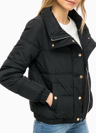 Короткая женская утепленная демисезонная черная куртка (tom tailor denim/xs, m)