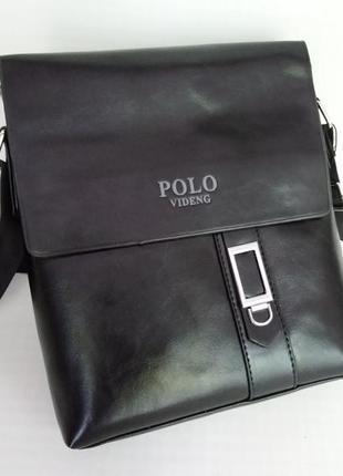 Стильная мужская черная сумка polo в наличии + подарок визитница