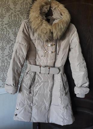 Пуховик зима с натуральным мехом