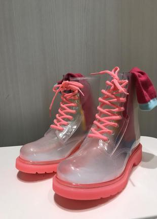 Крутые силиконовые ботинки/резиновые сапоги на шнуровке