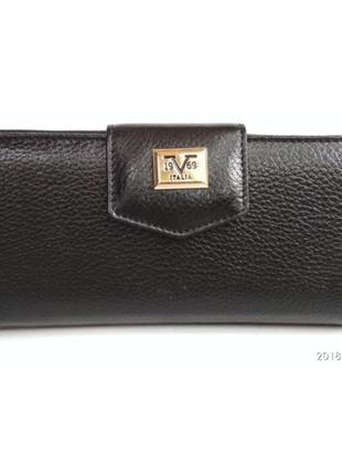 Кошелек на кнопке и на молнии, кожа, versace 1969, италия, черный, сзади карман на молнии