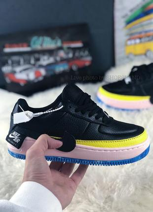 Nike air force 1 jester black sonic yellow купить женские кроссовки 36,38,39 рр