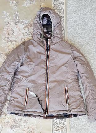 Новая нереально крутая курточка/италия пуховик трансформер, двухсторонняя