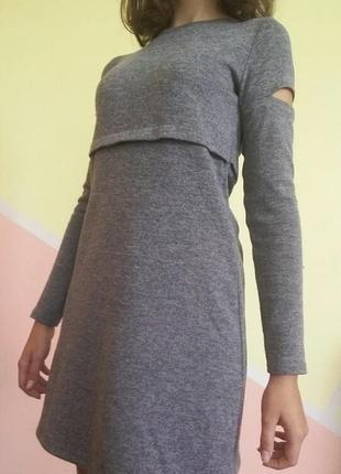 Платье / сукня/ серое / в школу/ трапеция/ короткое/ с разрезами