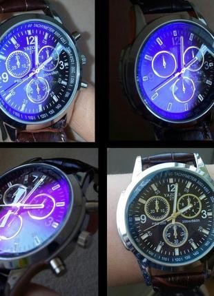 """Новые мужские наручные часы с эффектом """"blue ray""""."""