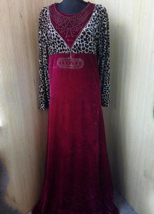 Актуальное длинное платье велюр высокий рост леопардовый принт