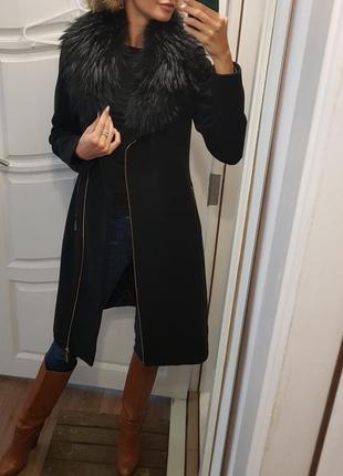 Шерстяное пальто, зимнее пальто,  теплое пальто, пальто с воротником