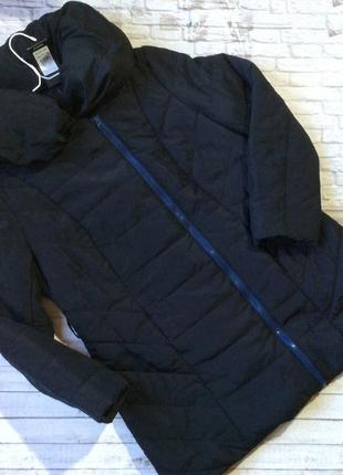 Куртка демисезон осень темно синяя объемный воротник