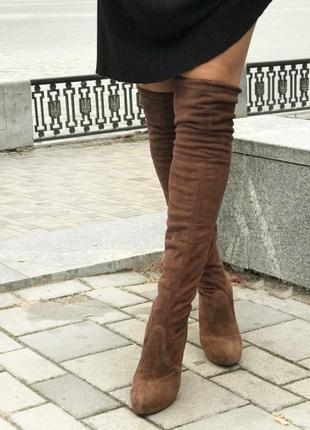 Обалденные темно-коричневые ботфорты-чулок