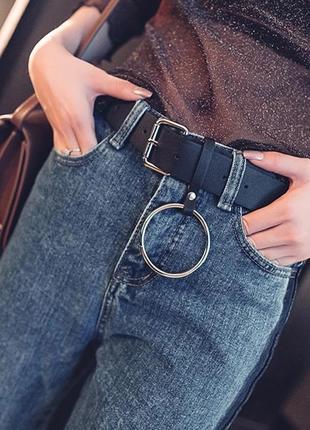 Пояс ремень кожаный с кольцом с квадратной бляхой пряжкой унисекс ретро винтажный
