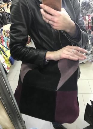 Замшевая сумка -мешок на сменной ручке
