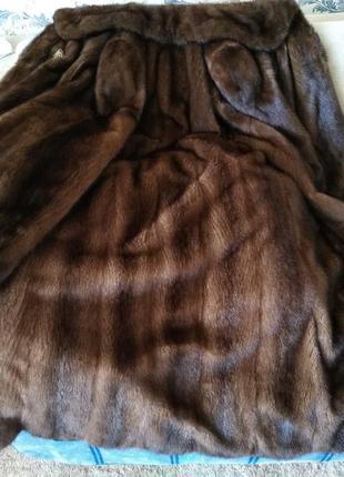 Длинная норковая шуба клеш производства греции б/у в отличном состоянии