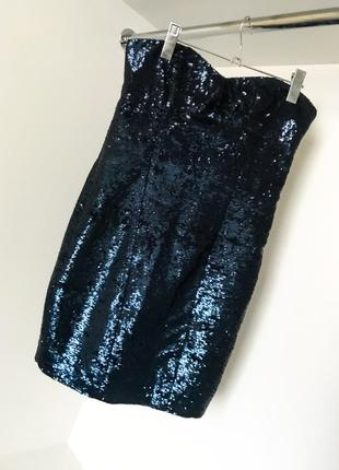 Нарядное вечернее красивое бюстье темно-синие короткое мини платье бандо из пайток look