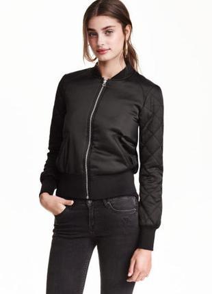 Черный бомбер утепленный куртка с манжетами р. 32 xxs/xs