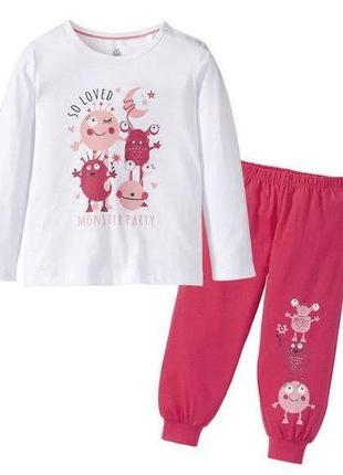 Светится хлопковая пижама с монстриками для девочек lupilu