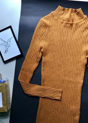 Шикарный горчичный гольф в рубчик / горчичный свитер в рубчик под горло5 фото