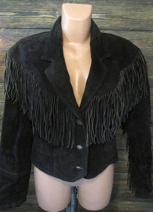 Шикарная ковбойская замшевая куртка с бахромой сша