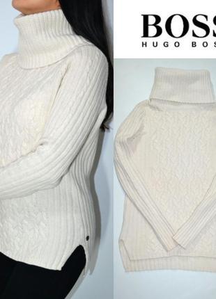 Теплый удлиненный свитер 100% шерсть hugo boss.