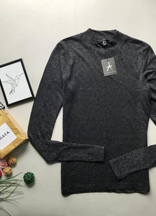 Шикарный черный гол ф с блетками / блестящий свитер с люрексом